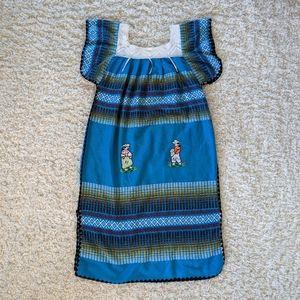 VTG Turquoise Mexican Themed Maxi Dress SZ XL